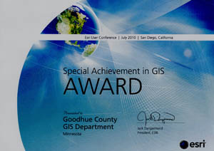 Recipient of ESRIs Special Achievement in GIS Award 2010